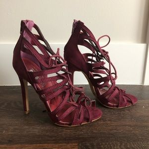 Windsor Red Lace Up Heels NEW